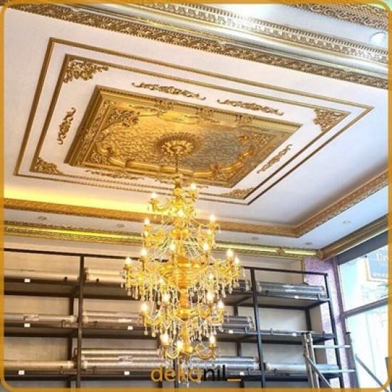 Altın Dikdörtgen Saray Tavan 140*200 cm (DD140200-A)