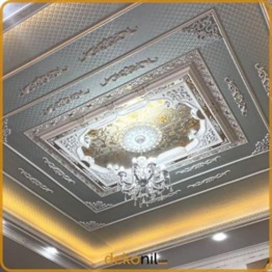 Beyaz Altın Dikdörtgen Saray Tavan 140*200 cm (DD140200-BA)