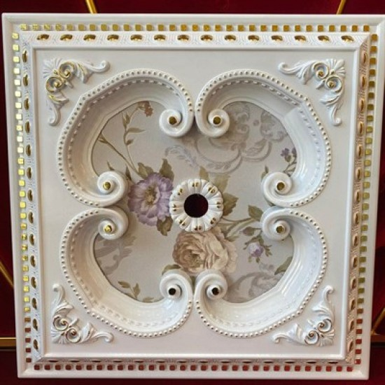 Beyaza Altın Kare Saray Tavan 60*60 cm (DK60-BA)