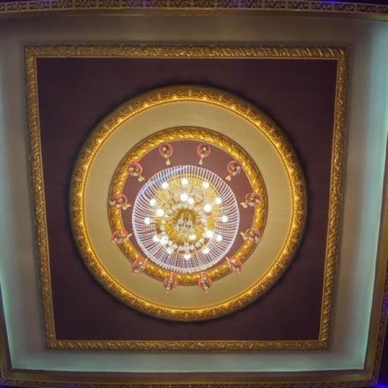 Altın Geçmeli Oval 9 Parçalı Saray Tavan Motif (DS-1575-01A)