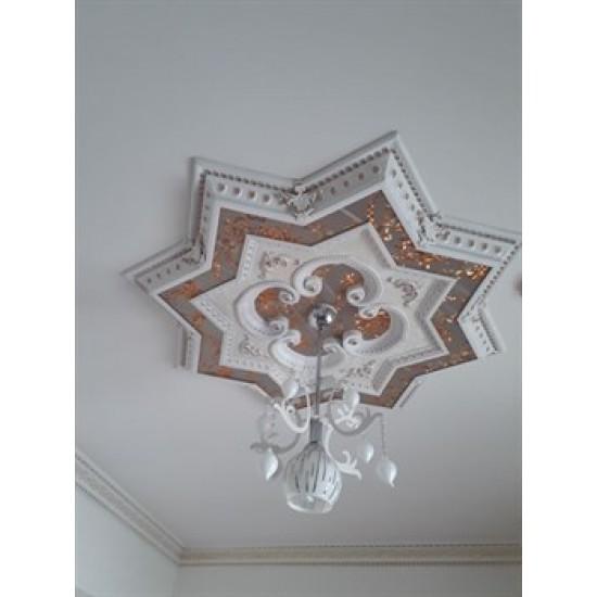 Beyaza Altın Yıldız Saray Tavan 120 cm (DY120-BA)